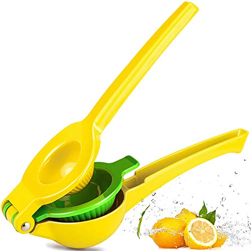Chefbar Metal Lemon Lime Squeezer Manual Citrus Press Juicer Top Rated Premium Quality Citrus Juicers Aluminum Lime Squeezers, Fresh Force, Yellow