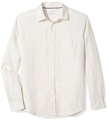 Amazon Essentials Long-Sleeve Linen Shirt Hemd, Natural, Large