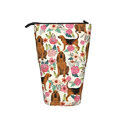 Bloodhound Perro Perros Y Florales Crema Telescópica Stand Up Transformador Portalápices Papelería Bolsa Bolsa Bolsa Portátil Cremallera