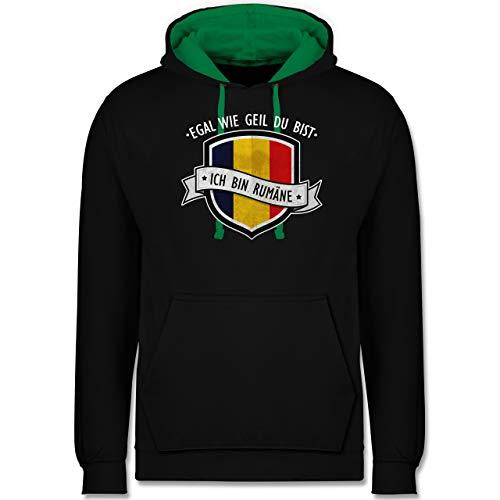 Shirtracer Länder - Egal wie geil du bist - ich Bin Rumäne - XXL - Schwarz/Grün - Pullover Romania - JH003 - Hoodie zweifarbig und Kapuzenpullover für Herren und Damen