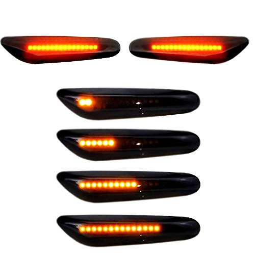 Lumiereholic LED Seitenblinker 2er Pack 16 LED Dynamische Blinkleuchte Blinker Schwarz Smoke Passgenau für E90 E91 E92 E60 E82 E46 SB10