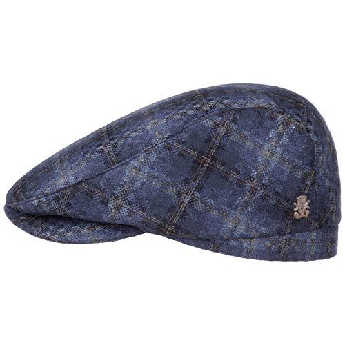 Michael Zechbauer San Vito Seide Flatcap Seidencap Schiebermütze Sommercap Mütze Cap (56 cm - blau-meliert)