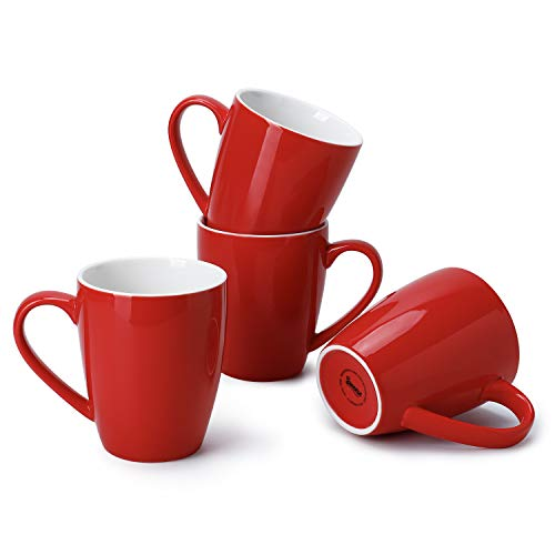 Sweese 601.104 Porcelain Mugs - 16 Ounce (Top to the Rim) for Coffee, Tea, Cocoa, Set of 4, Red