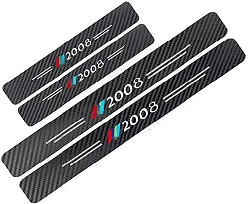 4 Stück Auto Kohlefaser Einstiegsleisten & Türschweller für Peugeot 2008, Trittplatten Schutzfolie Auto Styling Zubehör