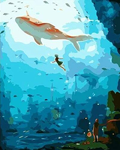 DIY pintura por número océano tortuga tiburón pintura lienzo imagen pintura al óleo para colorear por números pintado a mano regalo moderno A3 40x60cm