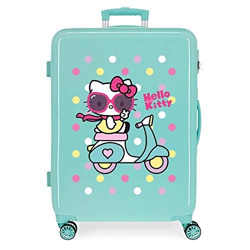 Hello Kitty Girl Gang Maleta Mediana Verde 48x68x26 cms Rígida ABS Cierre de combinación Lateral 70L 2,66 kgs 4 Ruedas Dobles