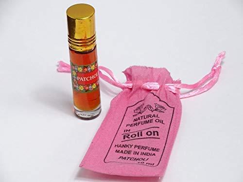 Pachuli aceite perfume roll on natural de calid - botella decristal en saquito de tela muy bien presentado - artesanal - 10 ml .- india -