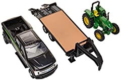 TOY VEHICLES SET: Ford F350, John Deere  tractor(5075E) as well as a detachable 5th wheel trailer STURDY DESIGN: Comes with durable construction SUITABLE FOR: Ages 3 years and up