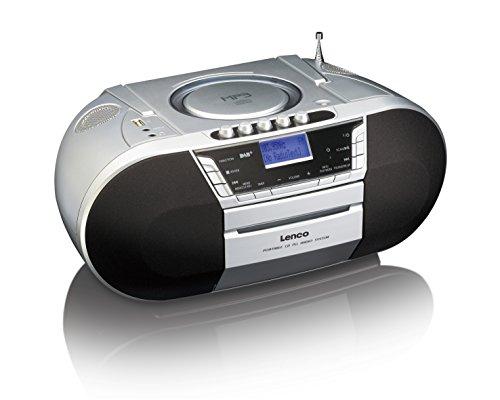 Lenco SCD-68 tragbares DAB+ Radio (CD/MP3/Kassettenplayer, Toploader, Teleskopantenne, AUX-In, USB, 3,5 mm Klinke, Kopfhörerbuchse)
