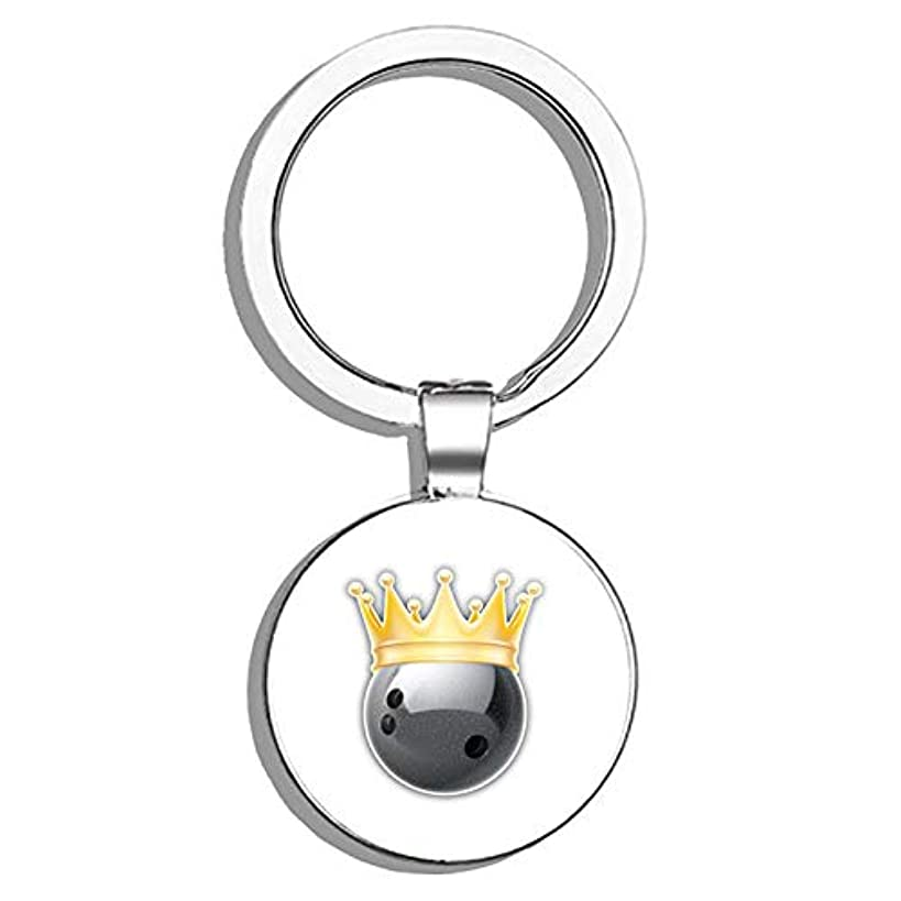 Glover Trading Bowling Ball Golden Crown Round Stainless Steel Metal Key Chain Keychain Ring Double Sided Deisgn