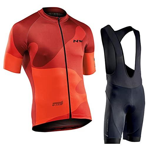 VISSJF Cycling Jersey for Mens, Cycling Jersey Set Jersey + 12D Gel Padded Bib Pants Cycling Suit WXY005,L
