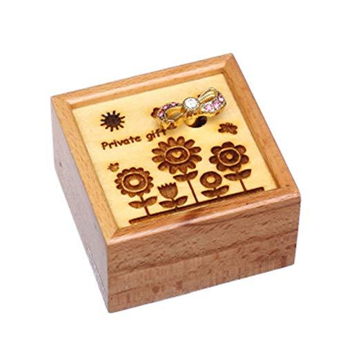 BGFBHTY Caja de música Caja de música de Madera Hecha a Mano Mecanismo de Madera Tallada Caja de música Mini Caja de música de Madera Adultos y niños