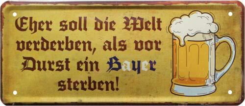 Bayerischer Trinkspruch Bayern Bier 28x12 Deko Blechschild 1807