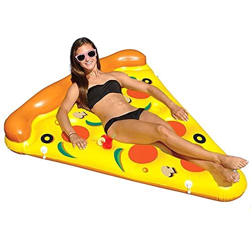 Rebanada de pizza gigante piscina inflable flotar con bomba 180cm Salón Cama Colchón Balsa de soporte de carga 300 libras resistente al desgarro cómodo Almohada portátil, para el verano Beach Party