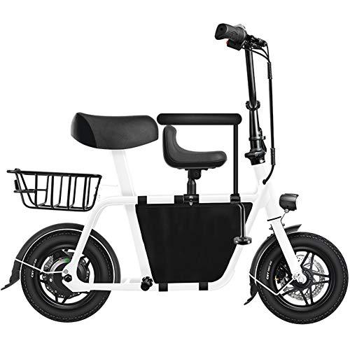 WM Erwachsene 12-Zoll-Falt-Elektrofahrrad 250w Mini-Eltern-Kind-Elektroauto mit großer Kapazität Einkaufskorb Geeignet für ungezwungenes Einkaufen,Weiß