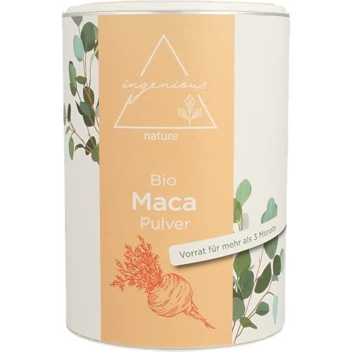 ingenious nature® Laborgeprüftes Bio Maca Pulver 500g - von der roten Maca Wurzel - 100{618992bbccaf45e0eb1c818c316869c2cba875b5bd2e37e108bb4f4154ec4c18} rein, ohne Zusätze, roh, aus Peru. Angebaut auf über 4400m. Vorrat für 100 Tage.