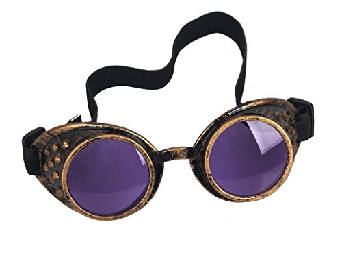 Goggles frame: 18 x 6 x 3 cm (7.09 x 2.36 x 1.18 in) (Without the black elastic strap) 100% brand new and high quality. Material: Plastic,glass,elastic band A necessary accessory for Steampunk's wardrobe A necessary accessory for Steampunk's wardrobe...