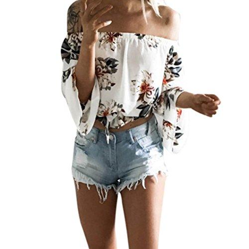 Sweatshirt Damen Kolylong® Frauen Elegant Trägerlos Langarm Bluse mit Blumenmuster Festlich Rückenfreies Oberteil Schulterfrei Off Shoulder Shirt T-Shirt Tunika Tank Tops (L, Weiß)