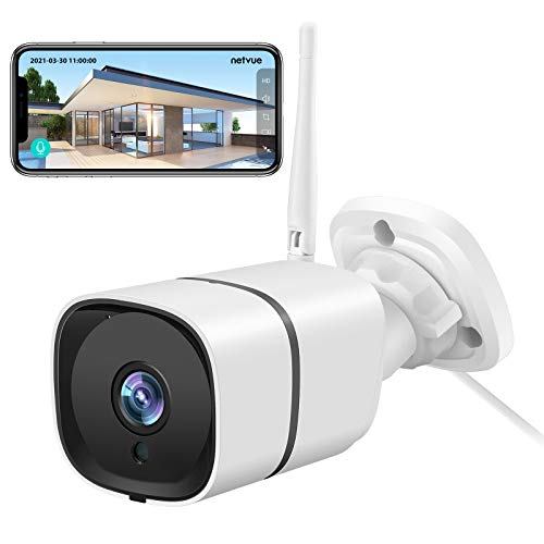 Netvue Outdoor Camera 2K, Security Camera Outdoor for Home and Office IP66, Front Door Camera H.265 High-Efficiency Video Coding,Motion Detection,2-Way Audio,2.4GHz WiFi,Support SD/Cloud Storage/Alexa