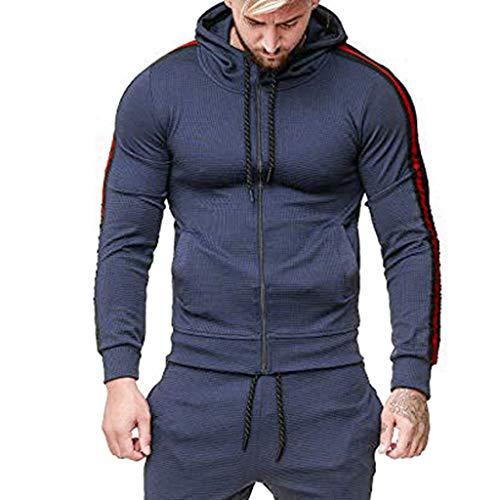 Kapuzenjacke Herren Casual Pullover für Herren, Holeider Zip Kapuzenpullover Herren Langarm Zipper Hoodie für Männer Streifenheftung Mode Streetwear Sweatshirt Jacke