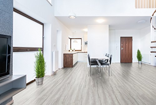 Vinylboden 2,5 mm Klebefliese 3,40 m² wasserbeständig in verschiedenen Farben Boden Holzoptik Dielen Designboden PVC … (Schneeesche)