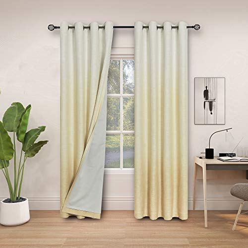 Central Park Ombre 85% Blackout Room Darkening Window Curtains for Bedroom Heavy Linen Texture 8 Grommets Gradient Print Cream White to Yellow/Light Gold Curtain for Living Room 50' x 84', 1 Piece