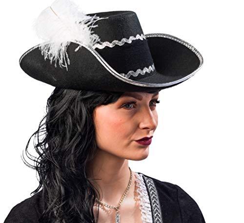 Orlob Kostüm Zubehör Hut Musketier schwarz mit Hutband Karneval Fasching