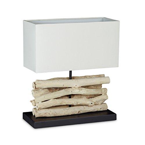 Relaxdays 10020066_188 Luminaire lampe de table design corps en bois abat-jour rectangle blanc en coton H : 40,5 cm lampe de chevet morceaux bois blanchi avec interrupteur et câble de 2 m, nature