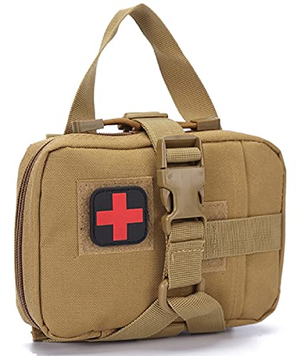 Kit de Primeros Auxilios tácticos de Emergencia, Molle Bolsa de Emergencia, Viaje al aire libre Portable Bolsa médica de Primeros Auxilios(Caqui)