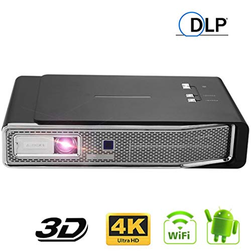 V5 DLP Mini Beamer, Beweglicher Android 1080P Volles HD 1280 * 800dpi 3D 4K LED Videoprojector, Wireless WIFI Bildschirm Mirroring Multimedia Home Theater Kleiner Projector (Color : Black)