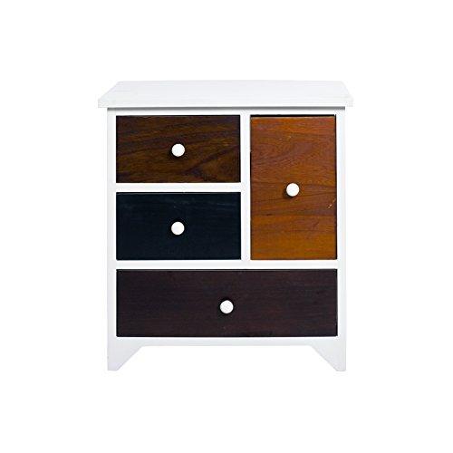 Rebecca Mobili Aparador para baño, cómoda Cocina con 4 cajones, MDF Madera Paulownia, Blanco marrón, Retro Vintage- Medidas: 52 x 47 x 33 cm (AxANxF) - Art. RE4338