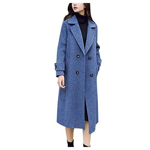 NOBRAND Ropa de Invierno Abrigo de Lana Largo Abrigo de Mujer Abrigo de Lana de otoño Coreano Chaqueta Cruzada de Moda Mezcla Elegante