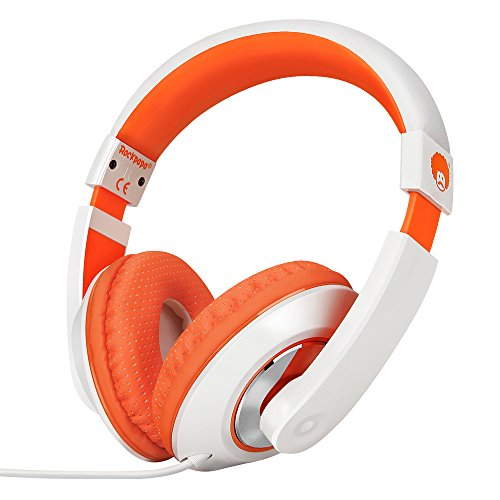 Rockpapa Comfort Cuffie con Cavo, Regolabile, Over-Ear Headphones per Telefono, Compressa, PC, Scuola, MP3/4 DVD, iPod iPad Bianco Arancio