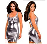 ZHANG Damen Sexy Kleid erotische Partykleid Clubwear Lackleder Wetlook Flexibel (Silver,M)