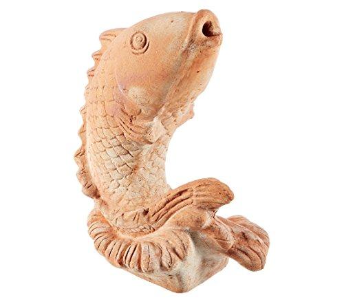 Dehner Dekofigur Wasserspeier Fisch, ca. 33 x 27 x 16 cm, Terrakotta