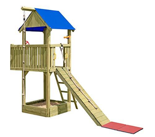 Gartenpirat Spielturm Abenteuer mit Balkon, Klettersteg, Seil und viel Zubehör TÜV
