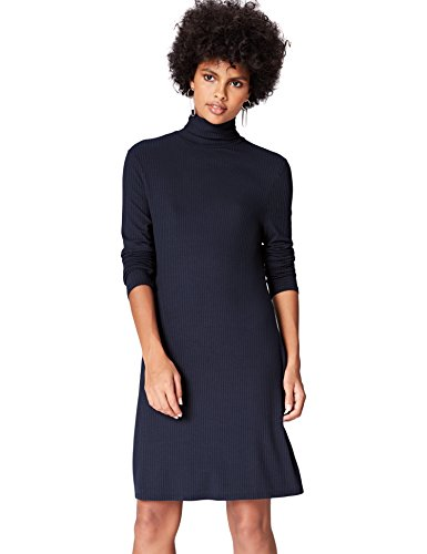 Marca Amazon - find. Vestido de Canalé con Cuello Alto para Mujer, Blau (Blue), 36, Label: XS