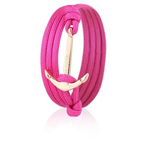 Skipper Anker-Armband mit Goldenem Edelstahl Anker für Damen und Herren - Pink 6995