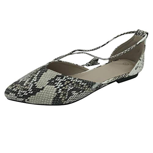 LONGTING Ladies Casual Loafers Sexy Comfortable Snake Pattern Pointed Flat Shoes Shallow Mouth Back Straps Shoes White