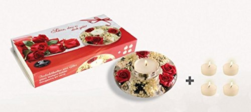 GILDE Dreamlight Geschenkset, Teelichthalter UFO Mini + 5 Teelichter (Pretty Rose)