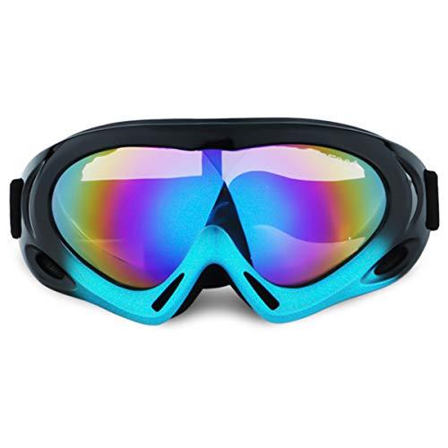 Maschere da Sci, Occhiali da Moto,Occhiali da Bambino Per Bambini e Ragazzi Protezione UV Occhiali da Sci per Parabrezza da Esterno, Adatti per Snowboard e Altri Sport Invernali All'aperto. (nero blu)