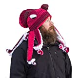 Yutone Adult Octopus Tentacle Hat, Hand-Woven Knitted Octopus Hat for Christmas Halloween Cosplay, Unique Soft and Warm, Red