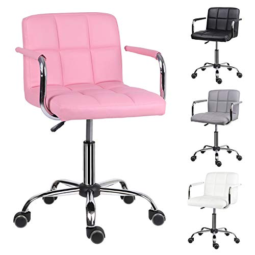 EUCO Desk chair for Home,PU Leather Pink Comfy Padded Computer Chair with Armrest Adjustable Height Swivel Chair Kids Chair,Home/Office Furniture
