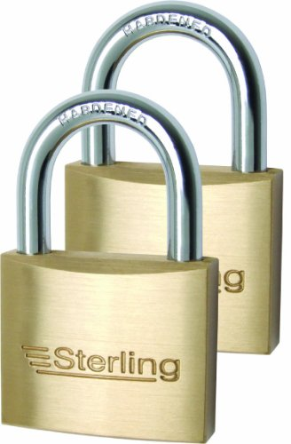 Sterling BPL442 Messing-Vorhängeschloss, 2 Stück mit gleichem Schlüssel.