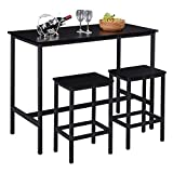 """SUPERJARE Bar Table Set with 2 Bar Stools, 47.2"""" Pub Dining Height Table Set, 3 Pieces Kitchen Counter Set, Vintage Industrial Furniture for Living Room - Black"""