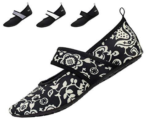 WeWee Die gesunden Allround-Barfußschuhe Damen - Vielseitig einsetzbare Minimalschuhe aus Neopren Wasserschuhe, Strandschuhe Badeschuhe, Weiße Blumen, 40/41 EU(Herstellergröße: XL)