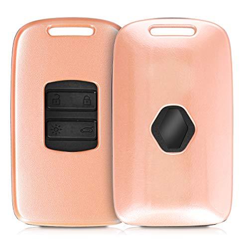 kwmobile Funda Compatible con Renault Llave de Coche Smart Key de 4 Botones (Solo Keyless Go) - Carcasa Dura para Llave de Coche Mando de Auto - en Oro Rosa Metalizado