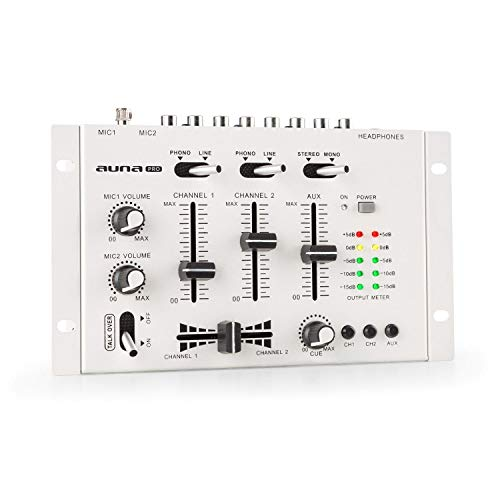 auna Pro TMX-2211 MKII Mezclador para DJ, 3/2 Canales, 2 x 6.3mm Mic-In, 2 x RCA-Linein con Phono-Switch, RCA-AuxIn, Crossfader, Función Talkover, Salida para Auriculares, Montaje en Rack, Blanco