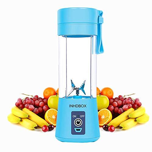 Mixer 380ML Tragbar Entsafter Mini Standmixer Blender Klein Smoothie Maker mit 6 Edelstahlmesser, USB Wiederaufladbar, für Smoothies, Obst und Gemüse, Zuhause, Büro, Sport, BPA frei (Blau, FC1603)