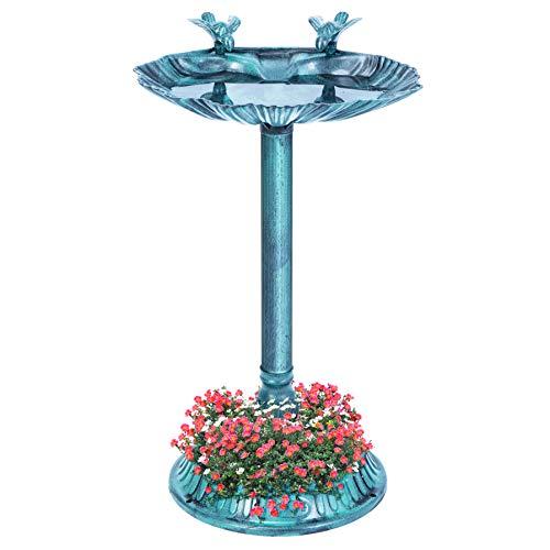 VIVOHOME 28 Inch Height Polyresin Lightweight Antique Outdoor Double Birds Garden Bird Bath with Planter Green